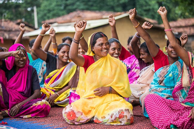 Sabita Devi, 36, participates in a self help group meeting in Sondari Pakartoli Village in Torpa, Jharkhand, India on August 28, 2018.
